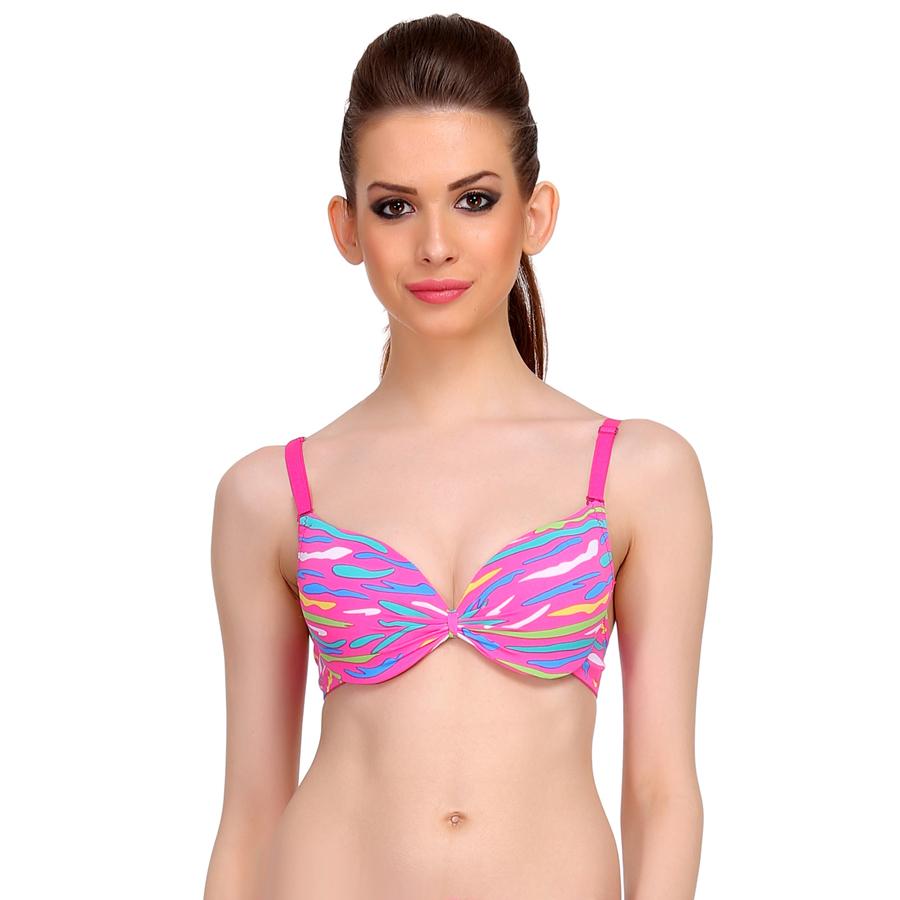 Neon Pink Push Up Bra With Plunge Neckline & Detachable Straps