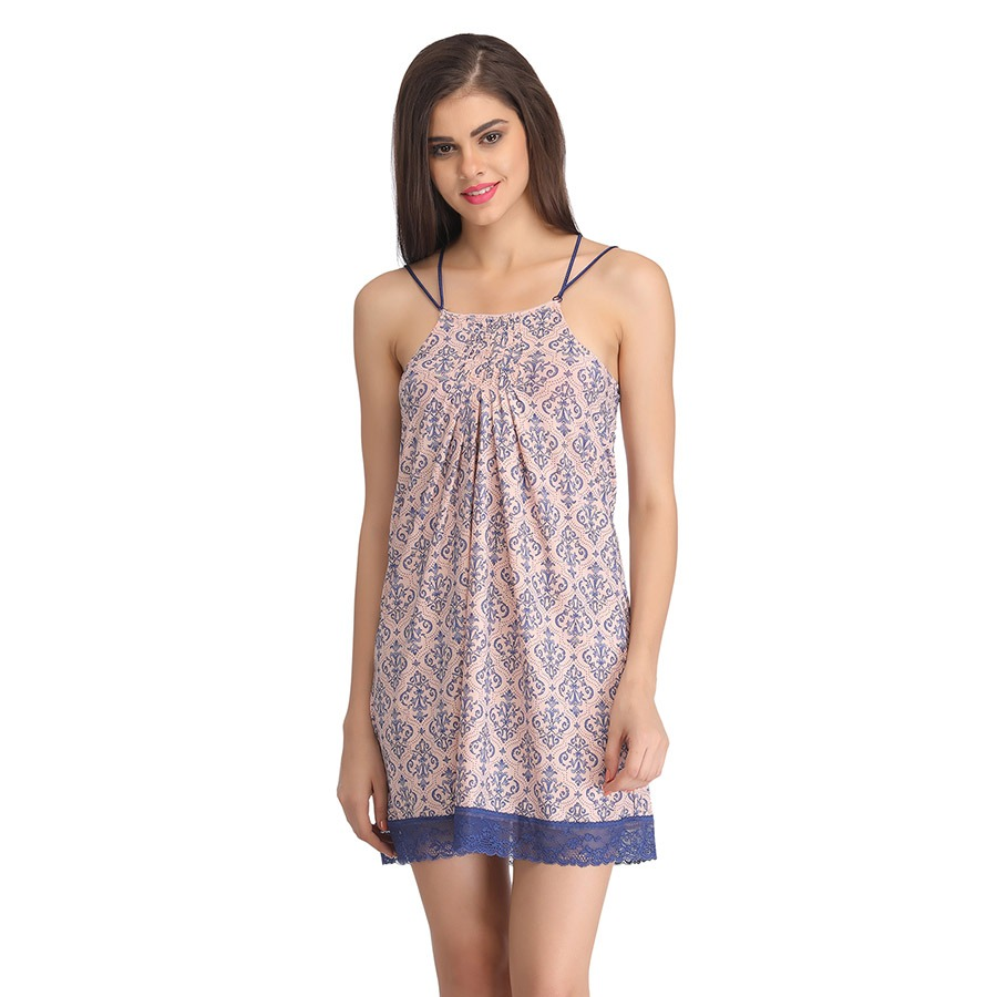 Printed Baby Doll With Lacy Hem - Peach