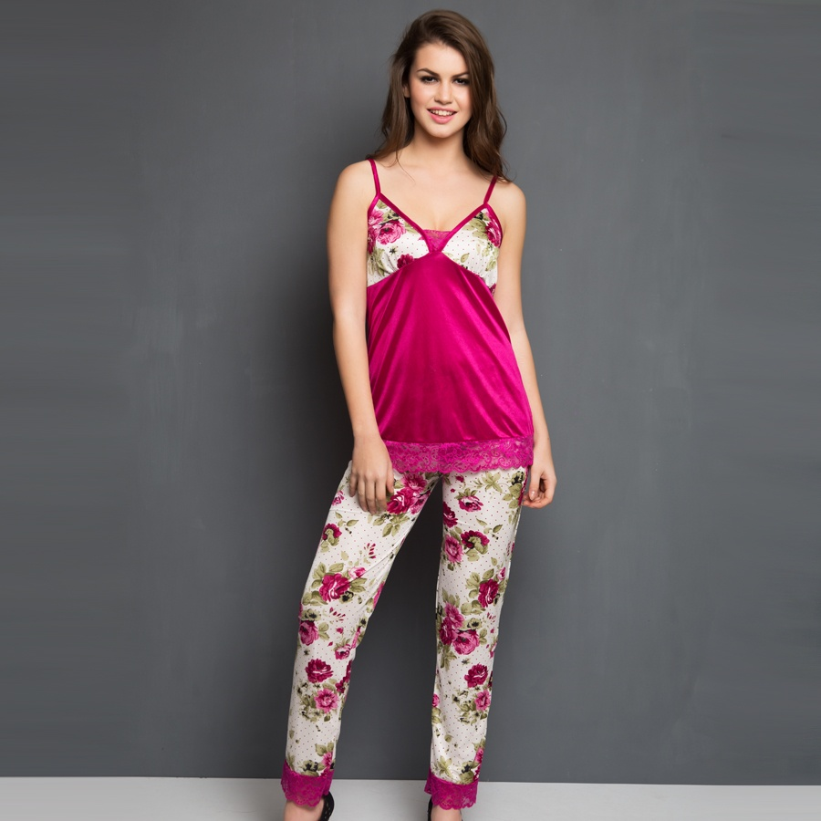 Printed Cami and Pyjama in Pink