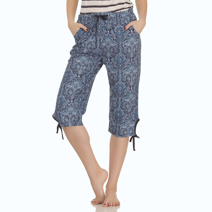 Printed Cotton Capri In Navy