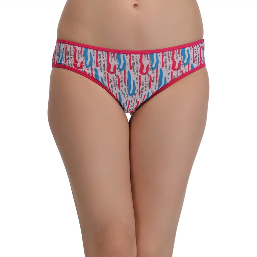 Printed Mid Waist Bikini - Pink