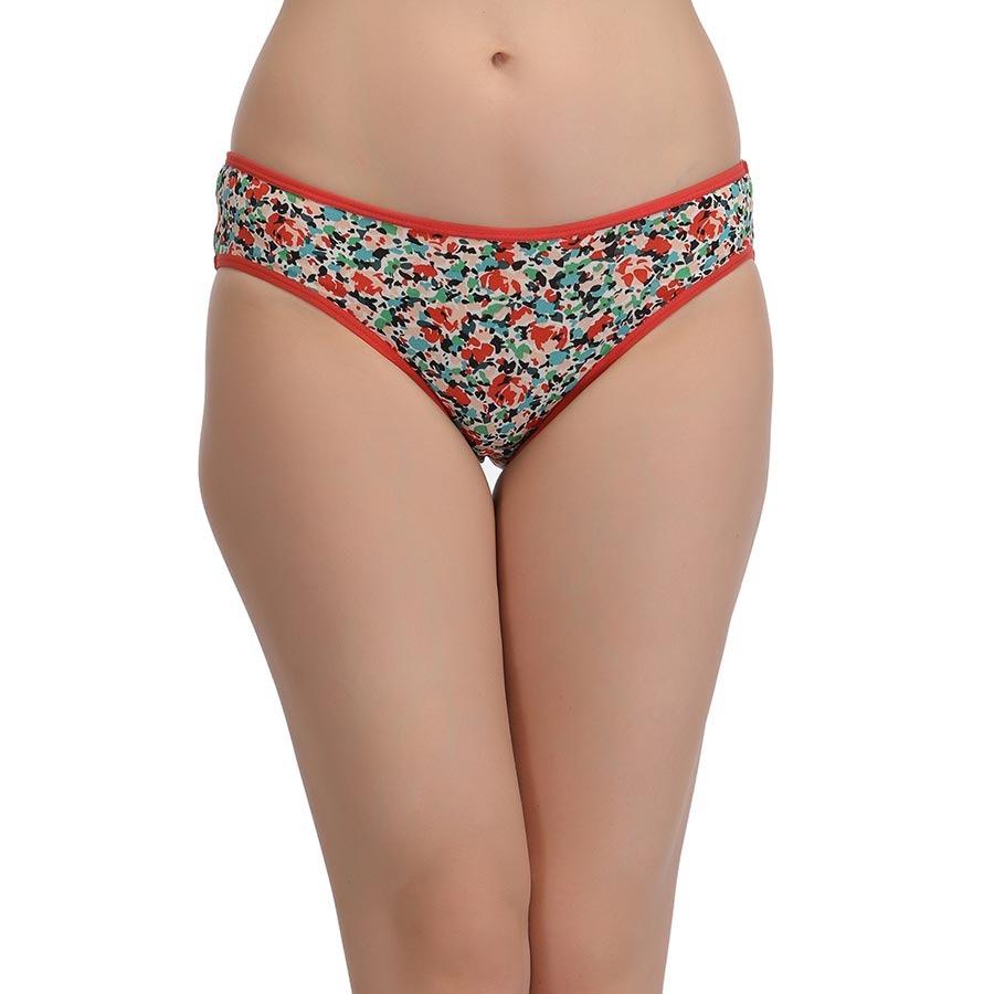 Printed Mid Waist Bikini - Red