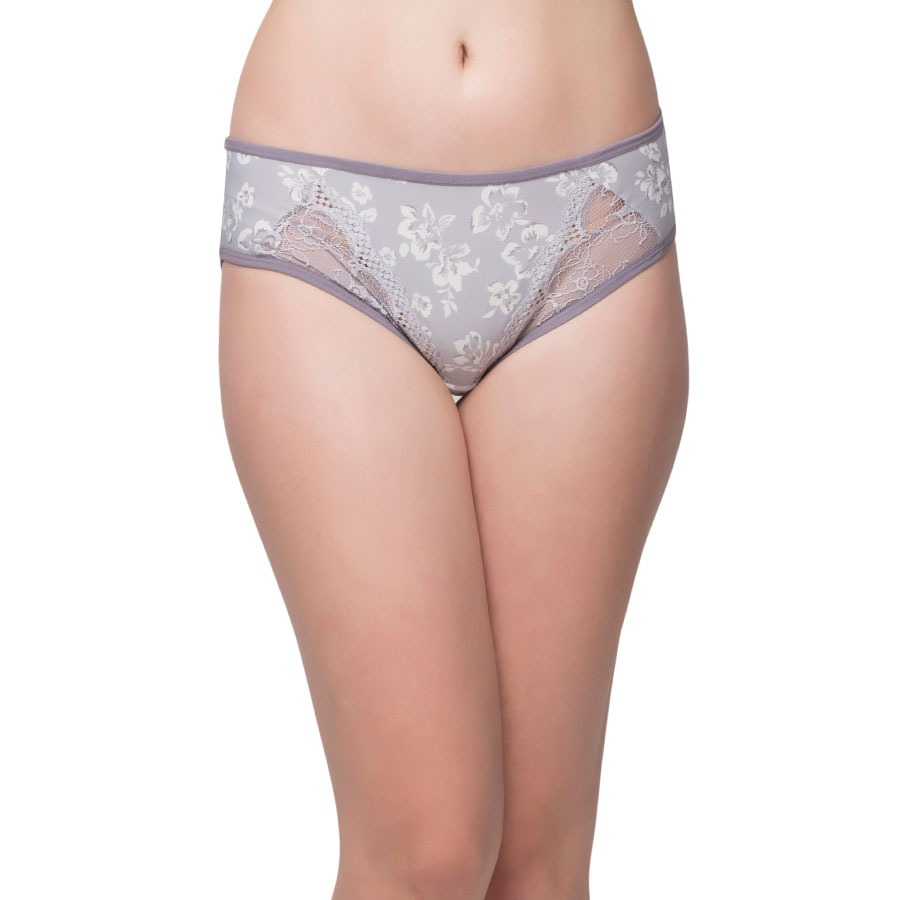 Printed Mid Waist Bikini With Lace Design - Grey