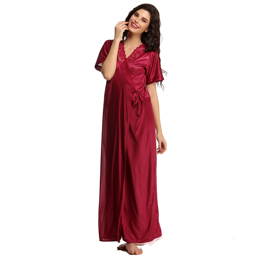 Satin Robe In Wine