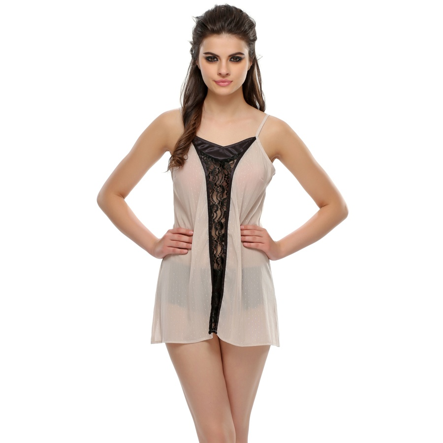 Romantic Beige Short Nightdress With Black Lace