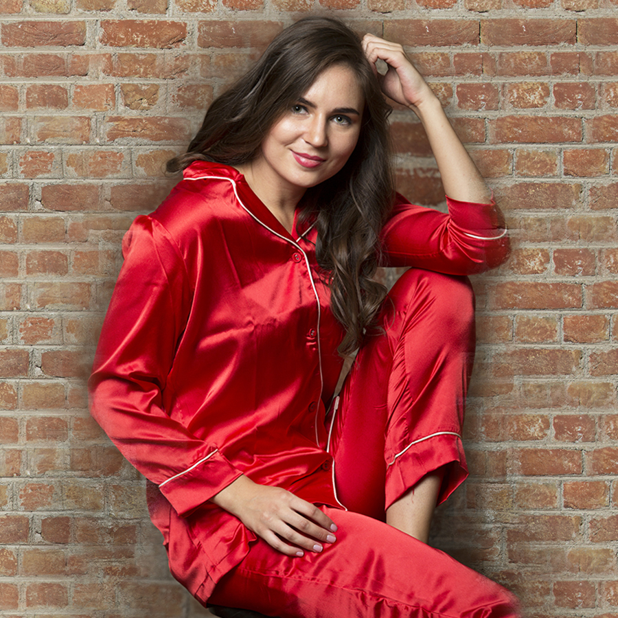 Satin Night Suit In Red