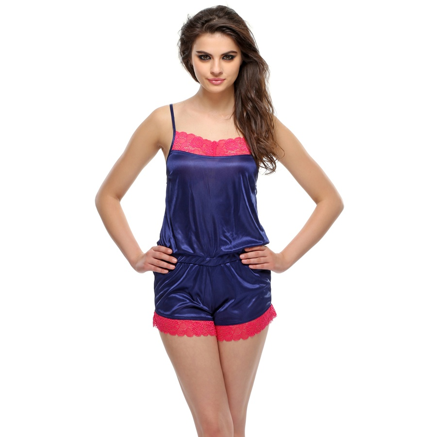 Satin Jumpsuit In Navy And Hot Pink