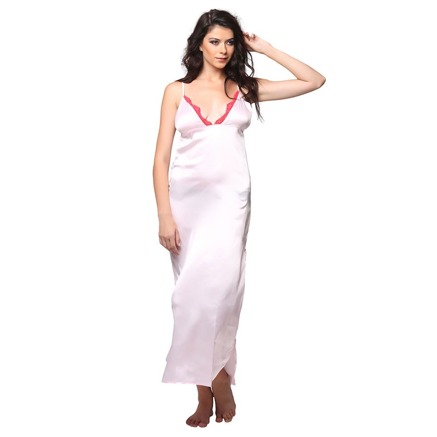 Satin Side Slit Long Nighty With Lacy Plunge Neck - Pink