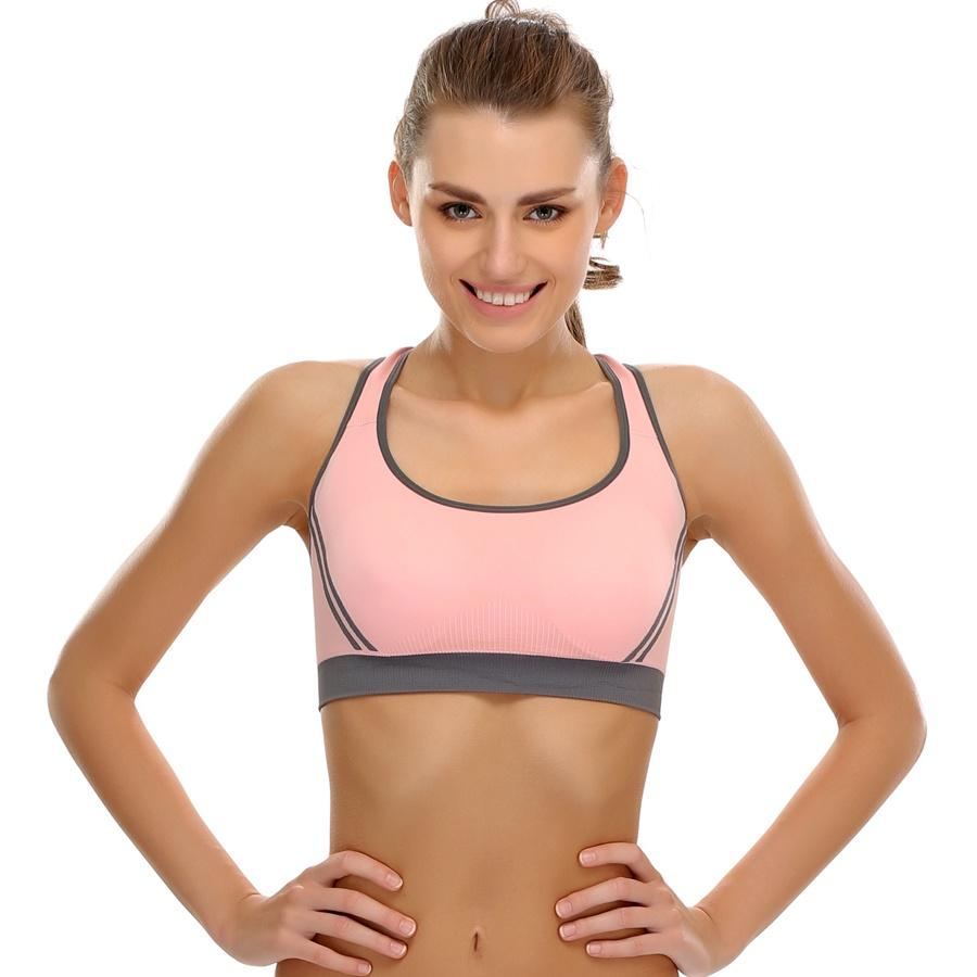 Seamless Padded Sports Bra With Cross Back Straps
