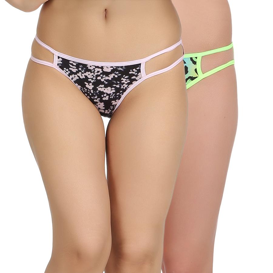 Set Of 2 Cotton  Mid Waist Bikinis
