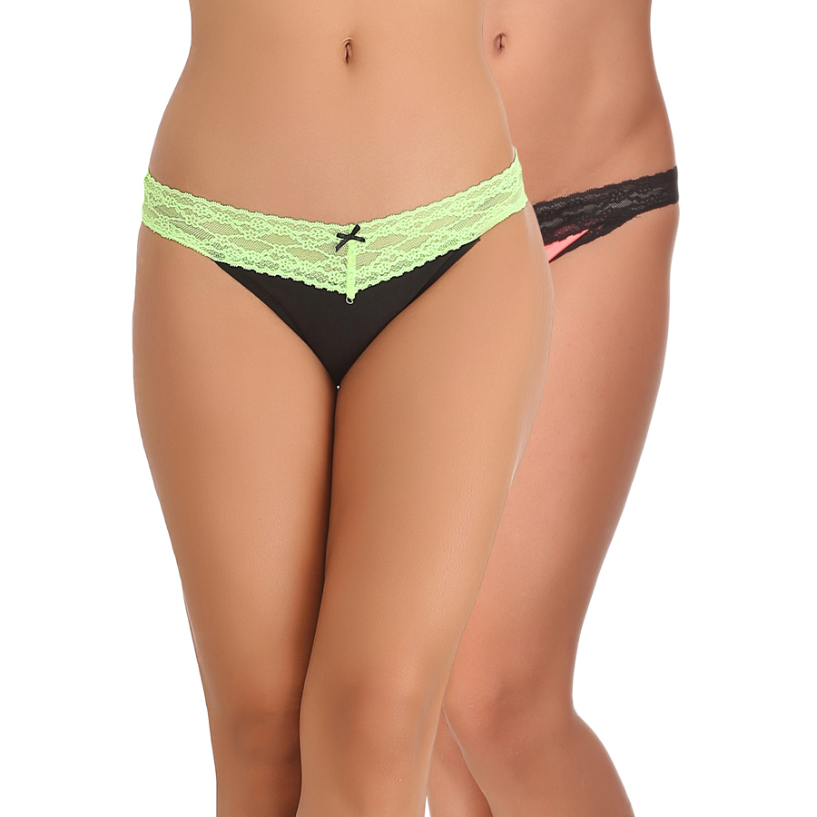 Set of 2 Cotton & Lace Mid Waist Bikinis - Green & Pink