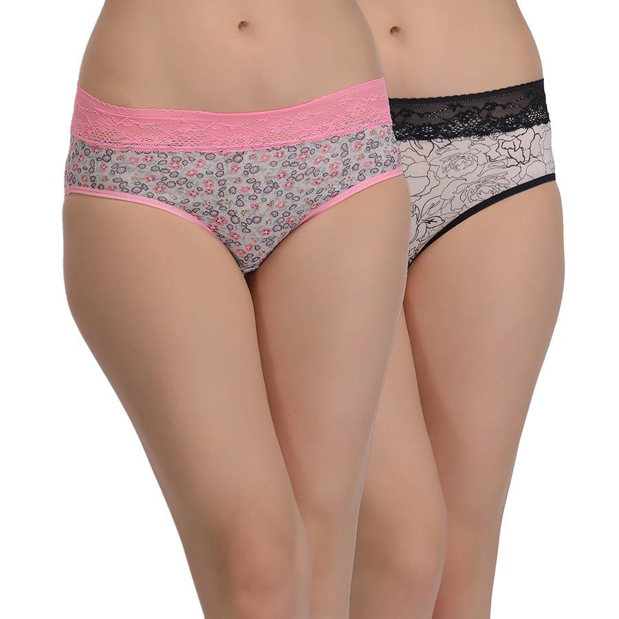 Set Of 2 Printed Mid Waist Lacy Bikini - Multicolor