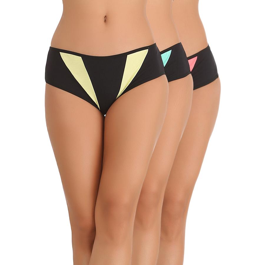 Set of 3 Cotton Mid Waist Bikinis - Yellow, Blue & Pink