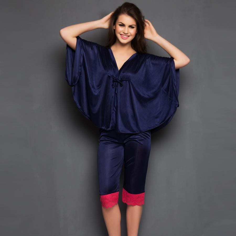 2 Pcs Satin Nightwear Set in Navy & Pink - Kaftan Top & Pyjama
