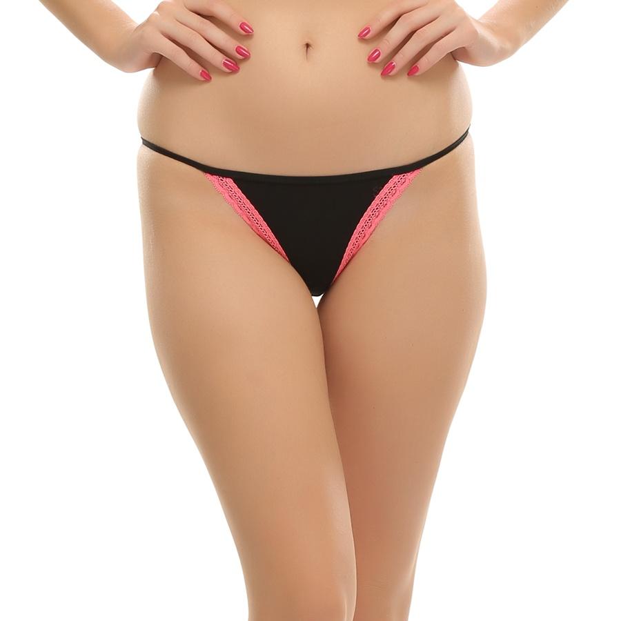 Sexy Black Bikini With Pink Lace