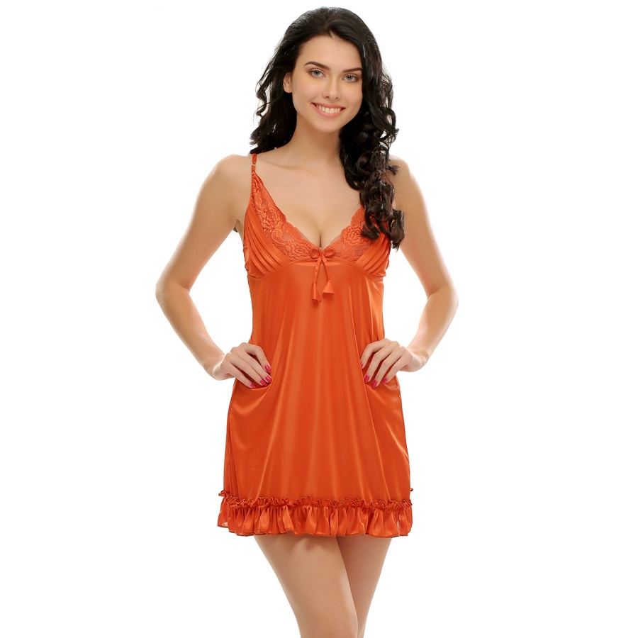 Sexy Ruffled Babydoll In Rust Orange