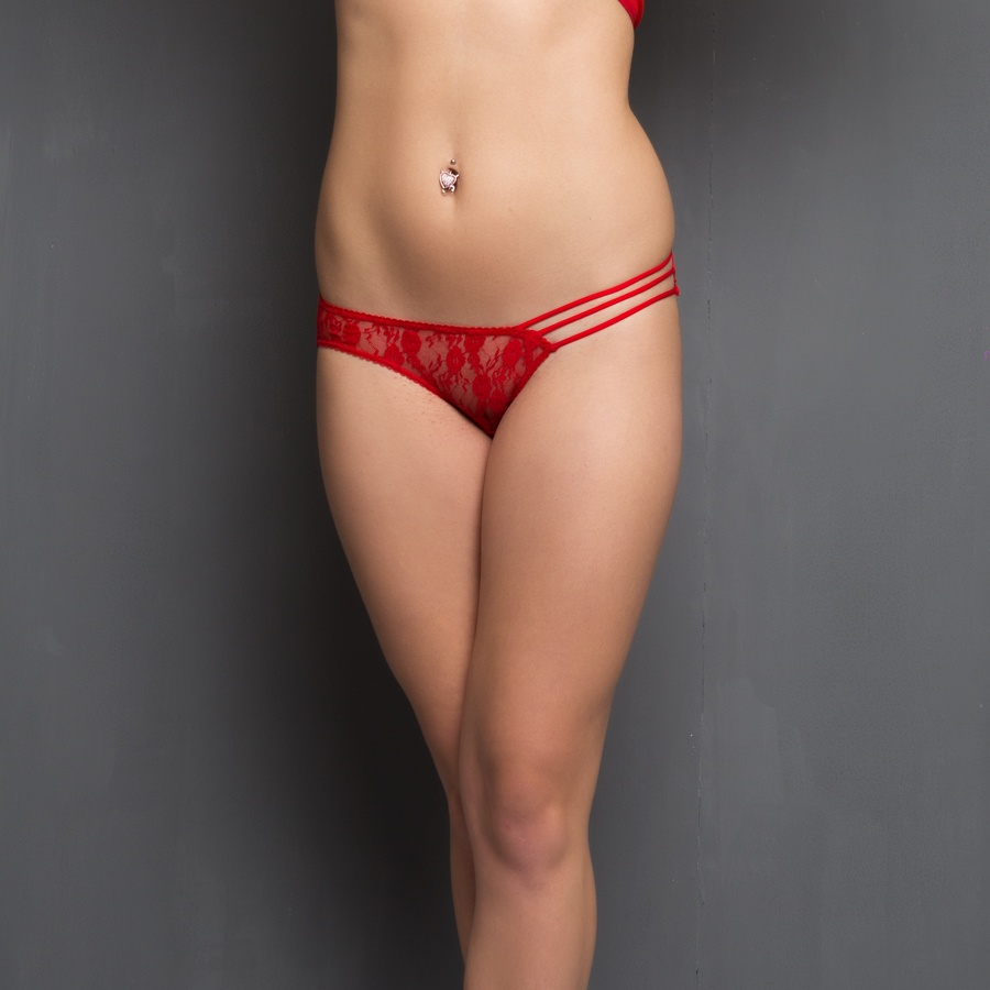 Sheer Lacy Panty In Red