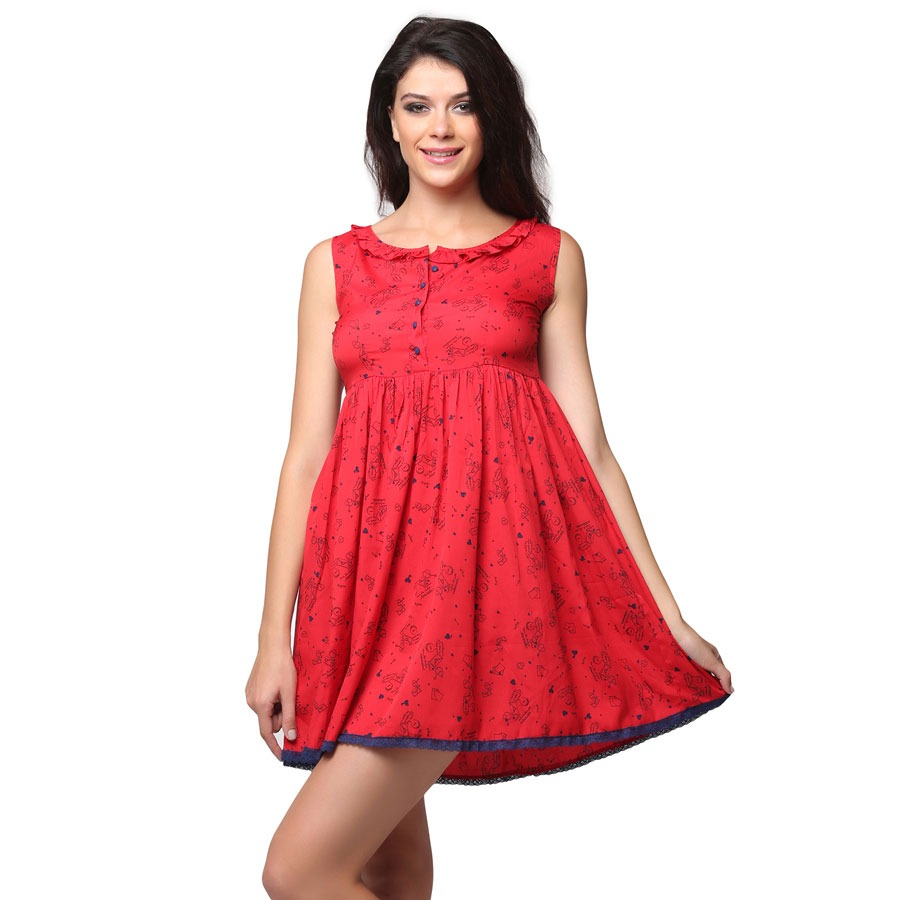 Short Printed Frilled Neck Nighty - Red