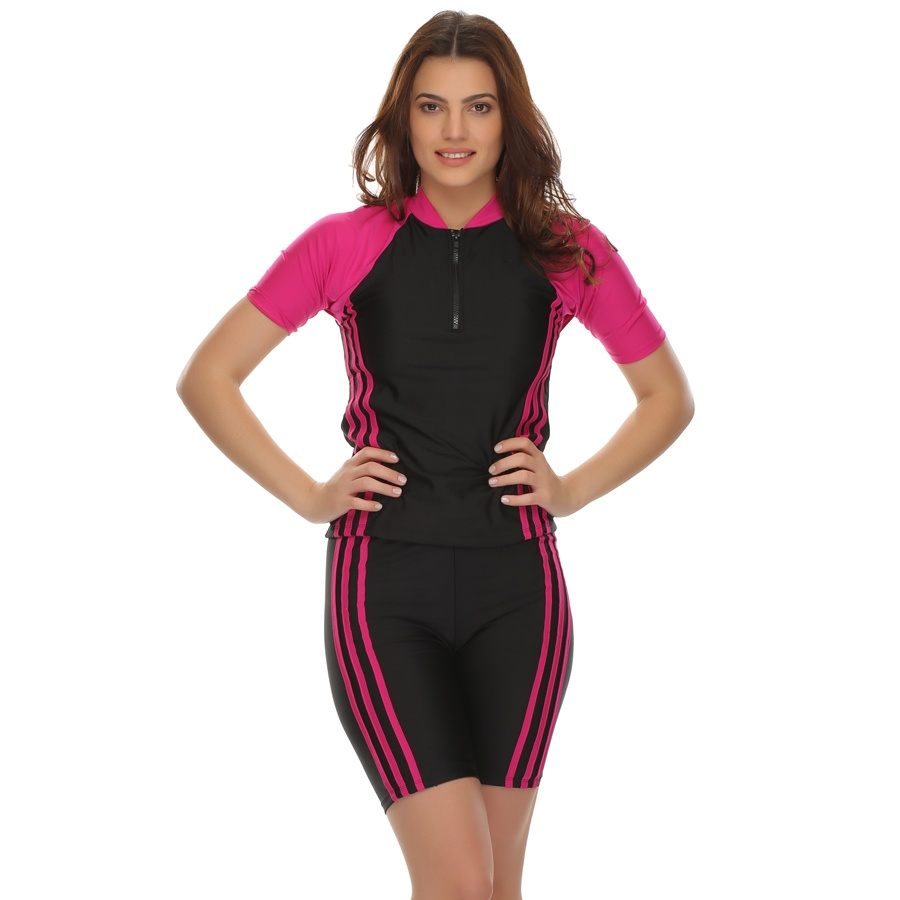 2 Pc Top & Shorts Swimsuit With Removable Pads