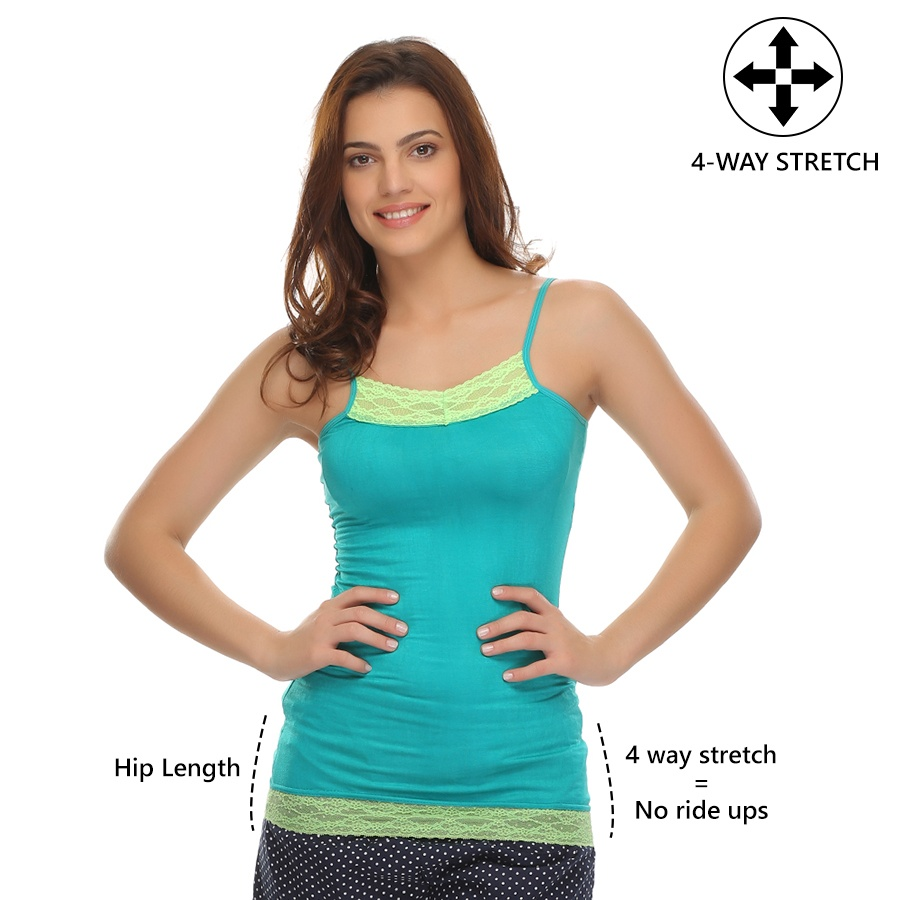 4-Way Stretch, Hip Length Cotton Camisole In Sea Green