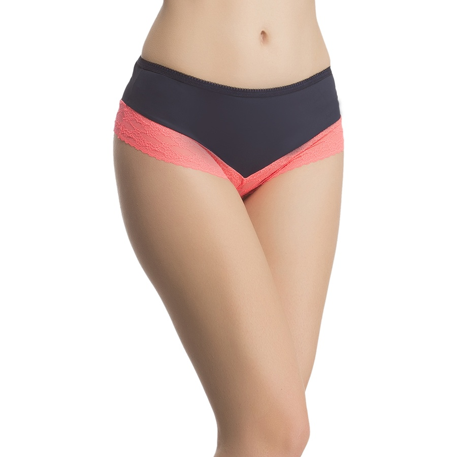 Soft Polyamide Lacy Brief In Navy