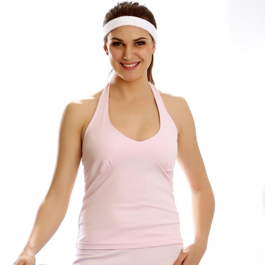 Supermodel Cotton Halter Top In Baby Pink