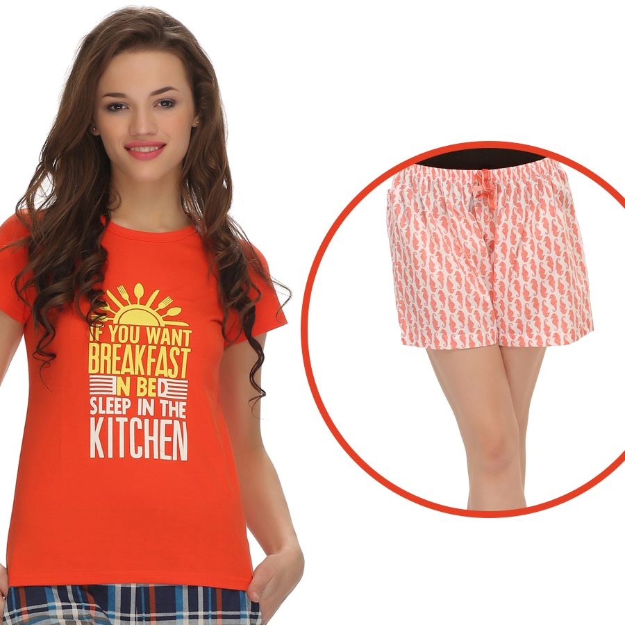 Trendy Graphic T-Shirt With Short In Orange