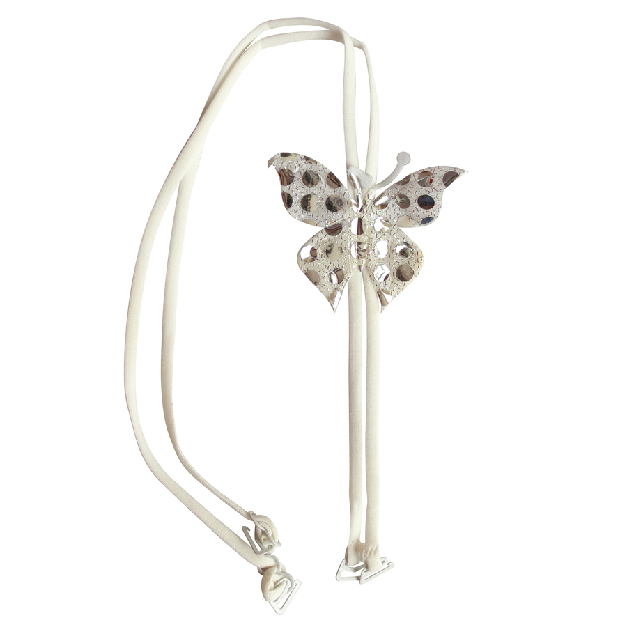 White Detachable Double String Straps With Fabric Butterfly Embellishment
