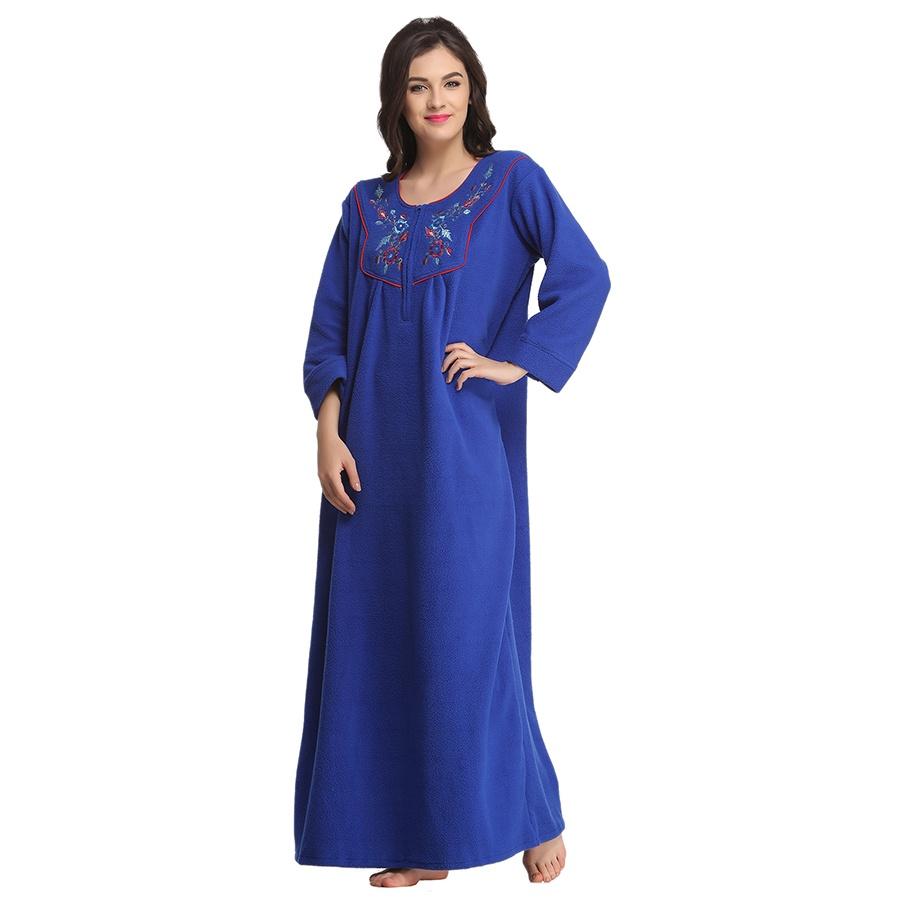 Warm Fleece Nightie In Royal Blue