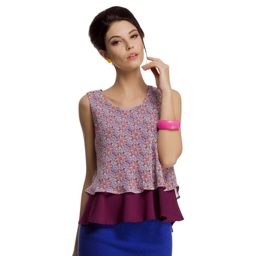 Layered Sleeveless Chiffon Crepe Top in Purple
