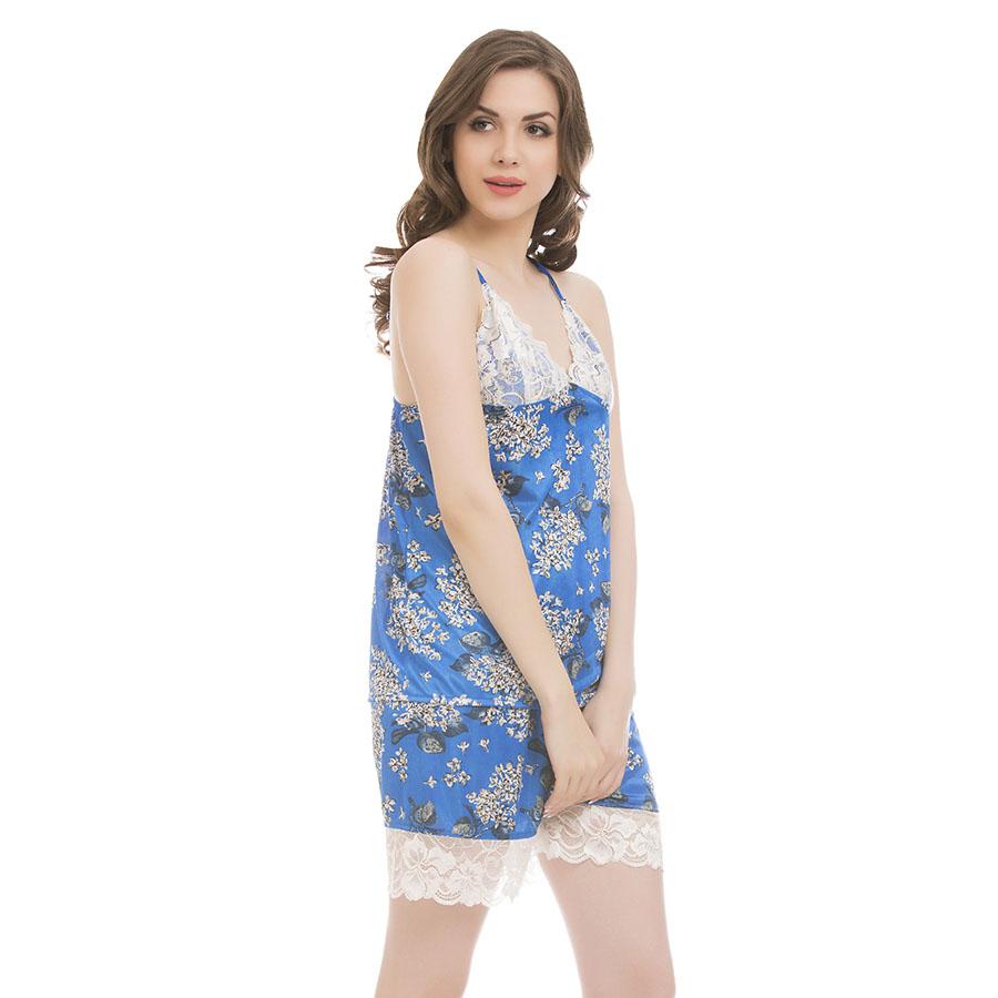 Clovia Satin Amp Lace Printed Top Shorts
