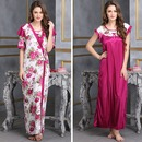 2 Pcs Printed Satin Nightwear In Wine - Robe & Nightie (FREE-SIZE)