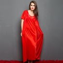4 Pcs Satin Nightwear In Red - Robe, Nightie, Top, Capri
