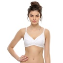 Cotton Spandex Moulded Cup White Comfort Bra