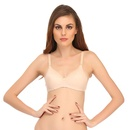 Wirefree Padded Cotton Bra In Beige