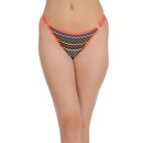 Chevron Print Low Waist Thong with Metallic Rings