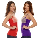 Set Of 2: Cotton Camisoles With Contrast Lace