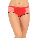 Cotton High Waist Colour Block Hipster - Red