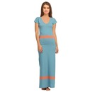 Cotton Long Skin Fit V-neck Nighty - Blue