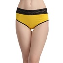 Cotton Mid Waist Bikini Panty with Lace Waistband