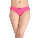 Cotton Mid Waist Bikini With Contrast Dot Print Bow - Pink