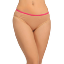 Cotton Mid Waist Bikini With Lace Trims - Skin
