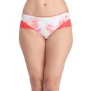 Cotton Mid Waist Printed Bikini Panty With Lace Wings
