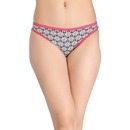 Cotton Mid Waist Printed Bikini with Contrast Elastic Band - Black