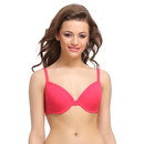 Cotton Push Up Bra In Hot Pink With Padded Demi Cups