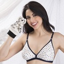 Cotton Polka Print Non-Padded Wirefree Demi Cup Bra - White