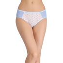 Cotton Printed Mid-Waist Bikini with Contrast Powernet Side Wings - White