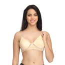 Cotton Rich Non-Padded Non-Wired Bra with Detachable Straps - Beige