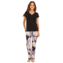 Cotton T-Shirt & Printed Pyjama - Black