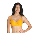 Cotton Underwired Padded Full Cup T- Shirt Bra with Detachable Straps - Yellow